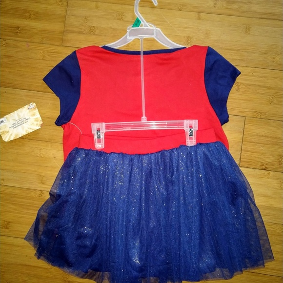 2-Piece Outfit Red//Blue Girls Captain Marvel Tee and Foil Tulle Tutu Skirt